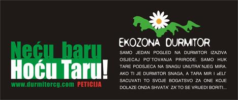 "Kampanja ""Necu Baru hocu Taru, slogan ""Eko zone Durmitor"""